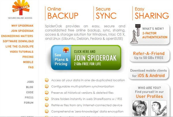 SpiderOak Online Data Backup services
