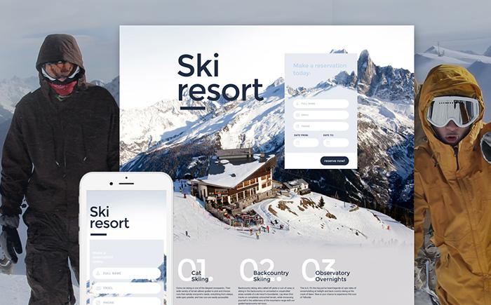 Skiing Responsive Landing Page Template